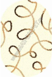 Длинноворсовый ковер Shaggy Ultra S612 — CREAM oval