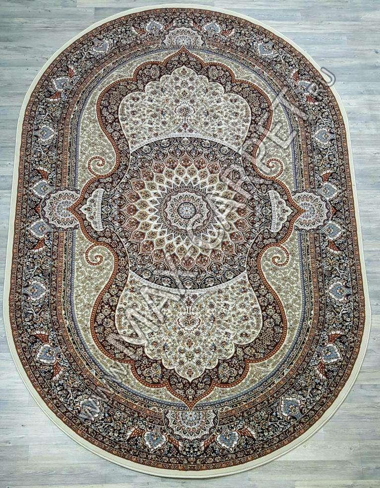 Узбекский ковер Sultanate 7705 OVAL BEYAZ  LACIVERT Овал