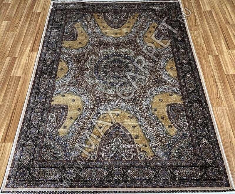 Турецкий ковёр шелковый QUM 01201B-CRE 9056 BEJ